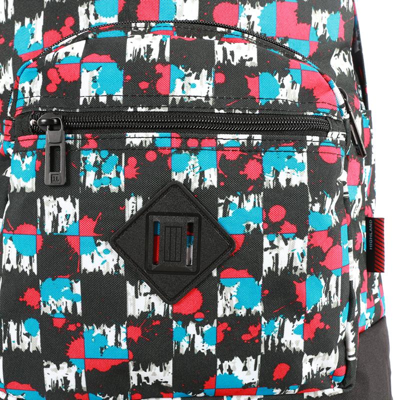 Školní batoh s cool potiskem, modro-červeno-černý