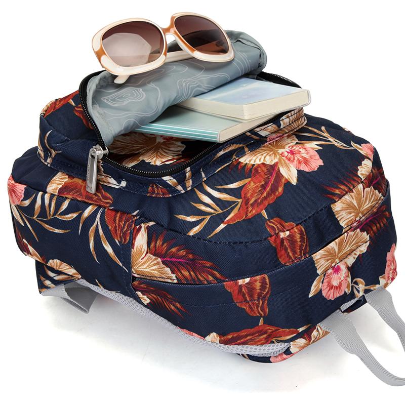 Školní batoh s potiskem květin, modrý