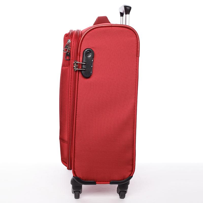 Odlehčený cestovní kufr Mahel, červený 4. kolečka, vel. III