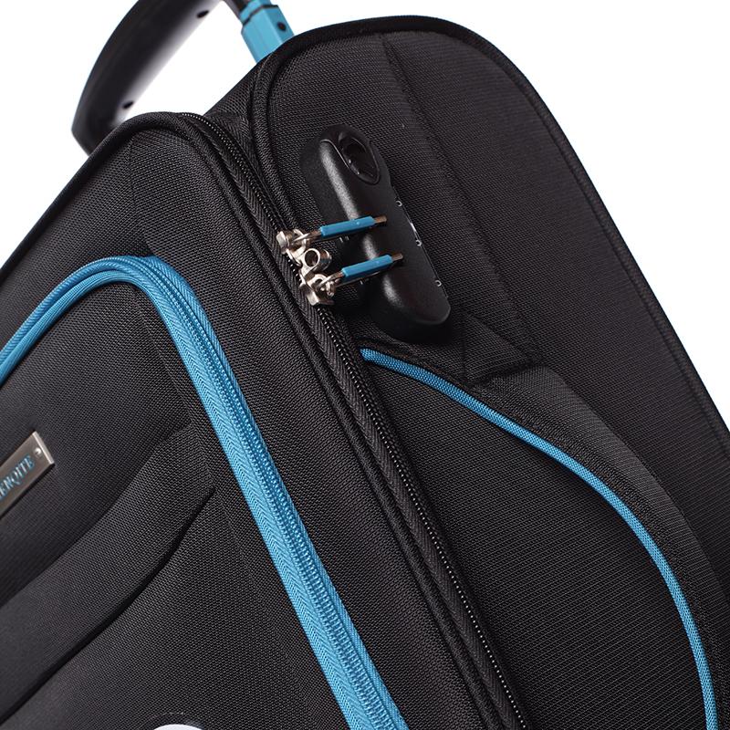 Látkový cestovní kufr Mahel vel. II, 4 kolečka, černo-modrý