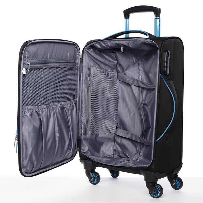Látkový cestovní kufr Mahel vel. III, 4 kolečka, černo-modrý