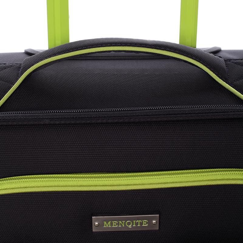 Látkový cestovní kufr Mahel vel. II, 4 kolečka, černo-zelený