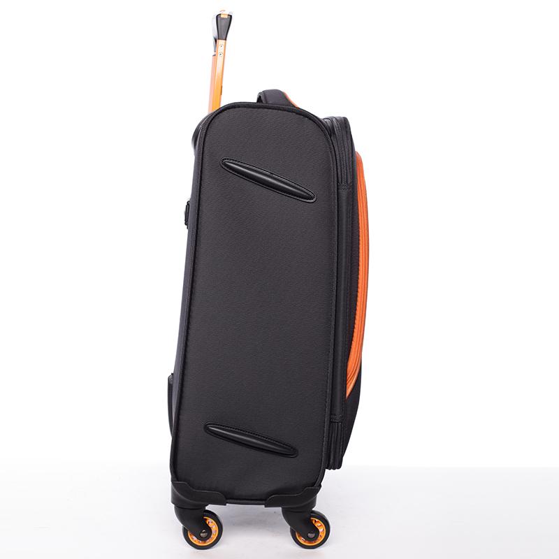 Látkový cestovní kufr Mahel vel. III, 4 kolečka, černo-oranžový