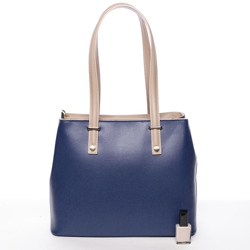 Stylová kožená kabelka přes rameno Ángela, modro-béžová