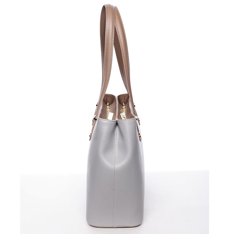 Stylová kožená kabelka přes rameno Ángela, šedo-béžová