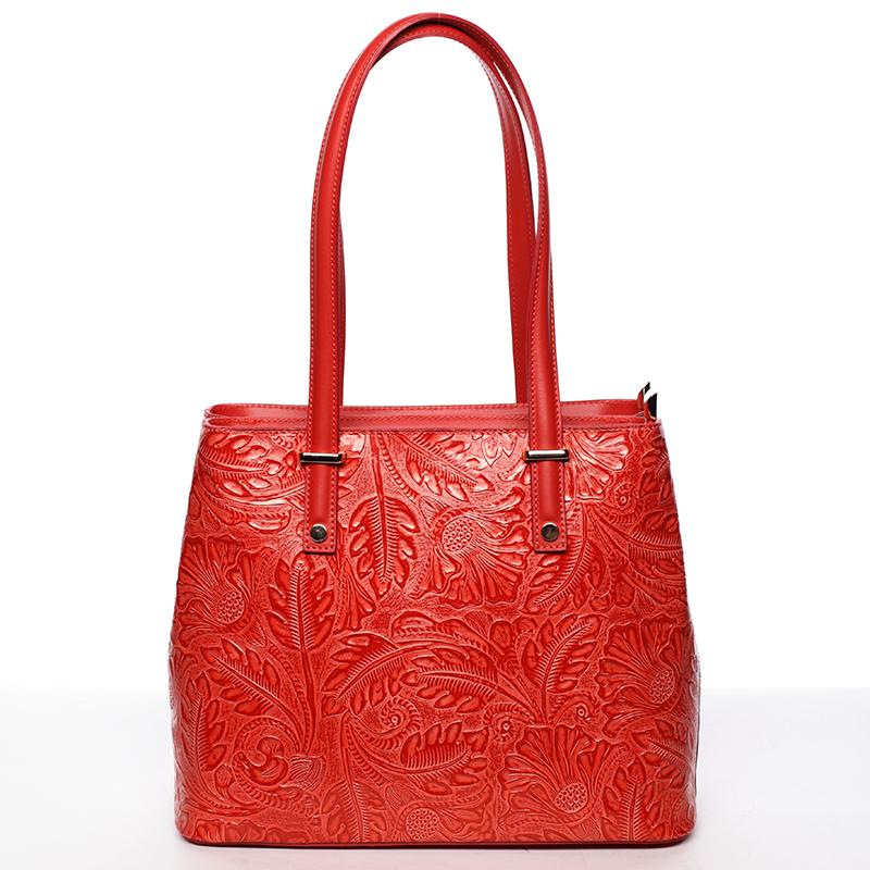 Módní kožená kabelka se vzory Tatum, červená new