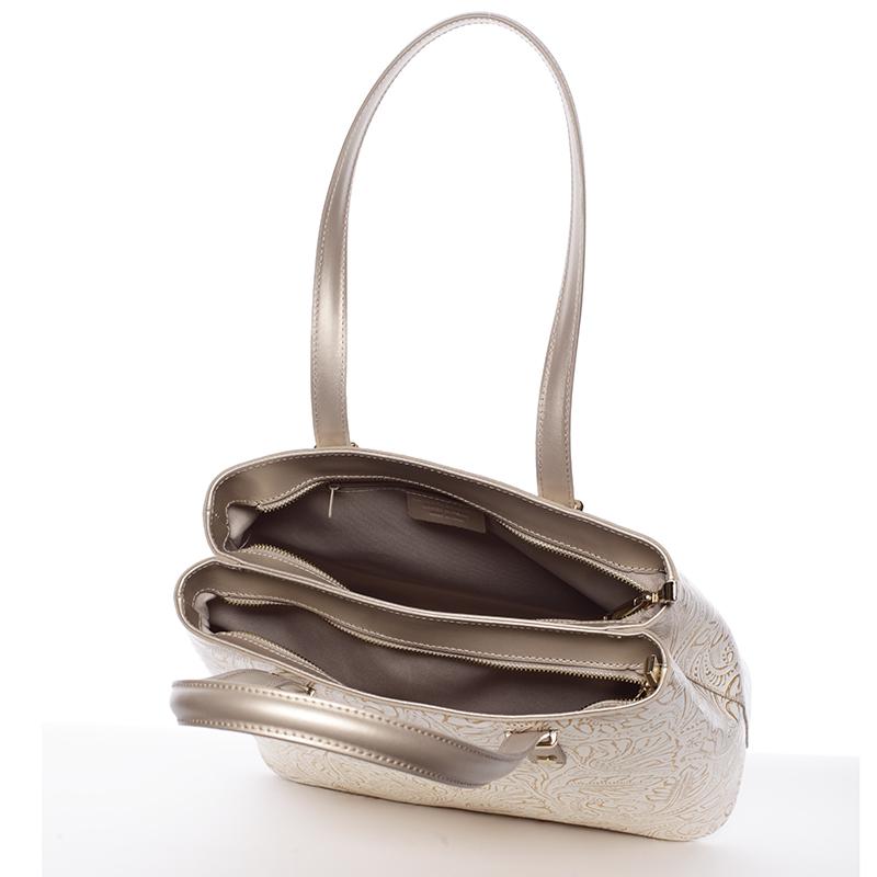 Módní kožená kabelka se vzory Tatum, zlato-béžová