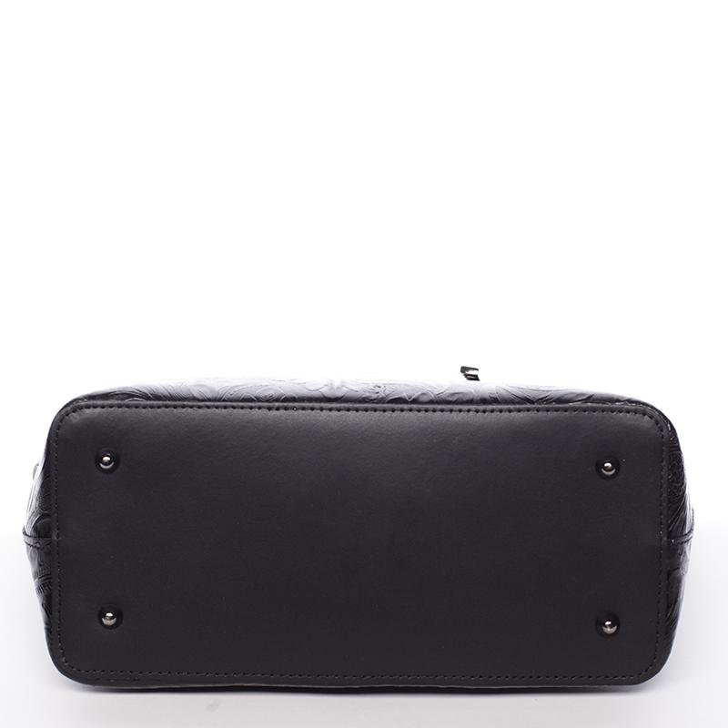 Černá luxusní kožená velká kabelka Azra se vzory