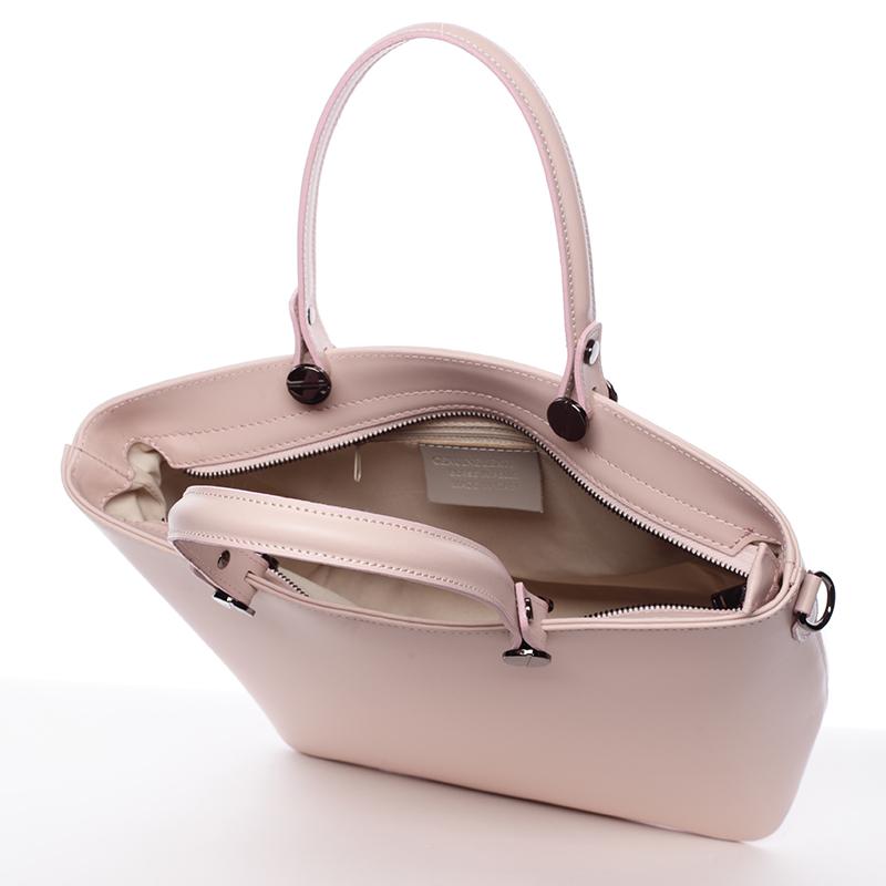 Růžová luxusní kožená velká kabelka Azra