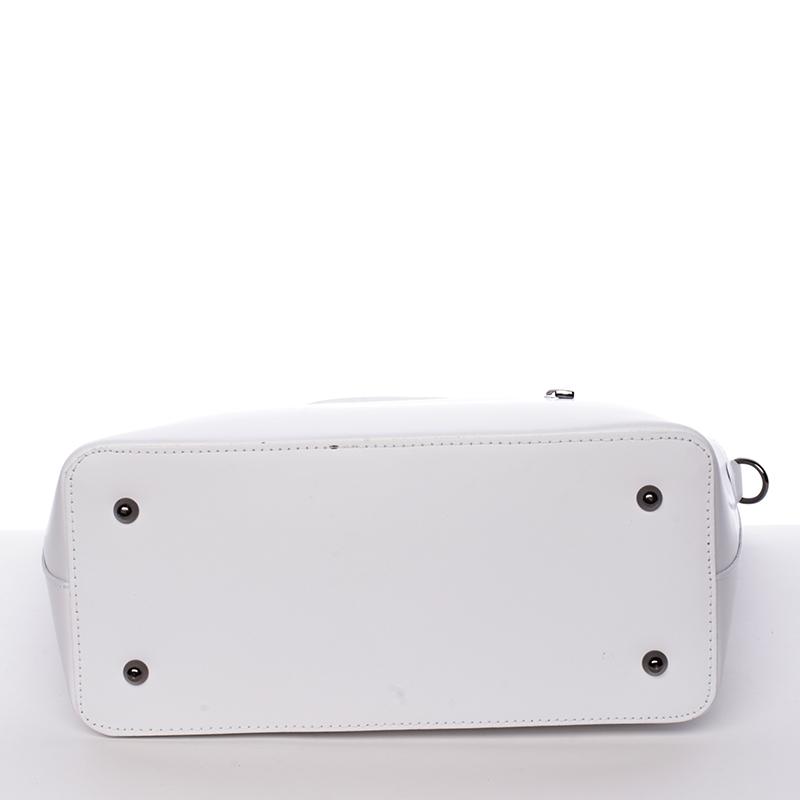 Bílá luxusní kožená velká kabelka Azra
