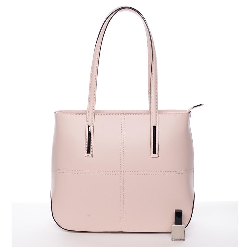 Dámská elegantní kožená kabelka Kierra, růžová