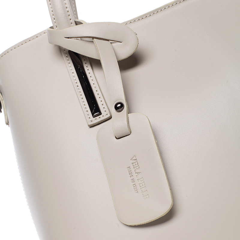 Elegantní kožená kabelka do ruky Maricela, světle šedá