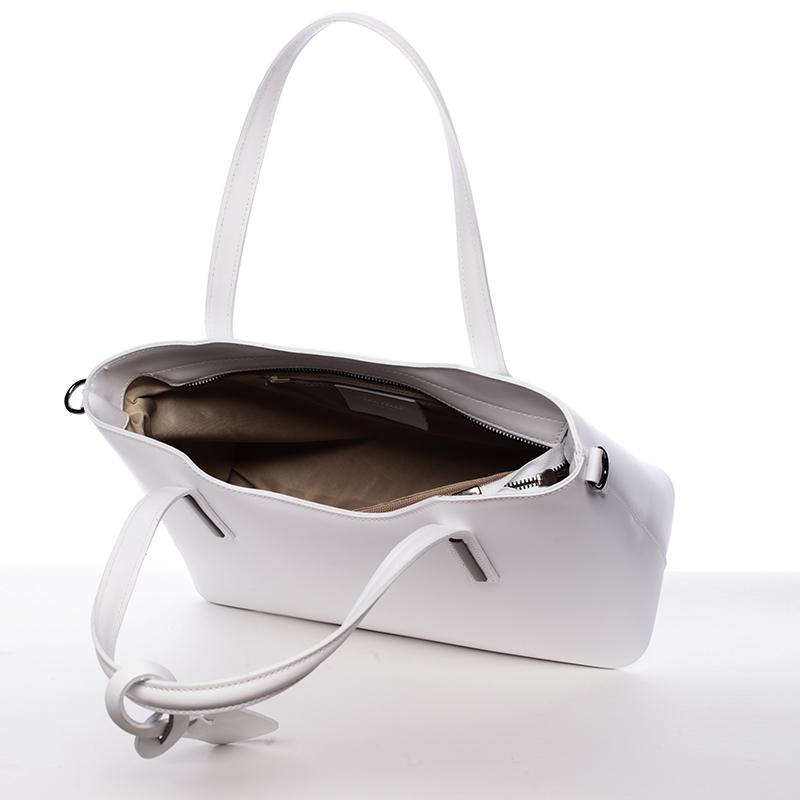Elegantní kožená kabelka do ruky Maricela, bílá