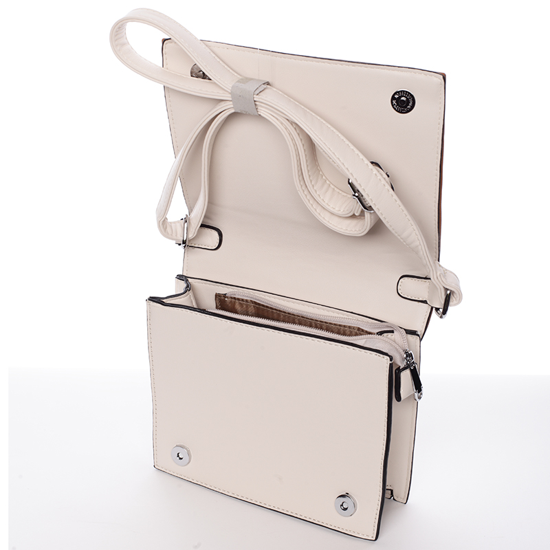 Jednoduchá stylová crossbody kabelka, bílo-hnědá