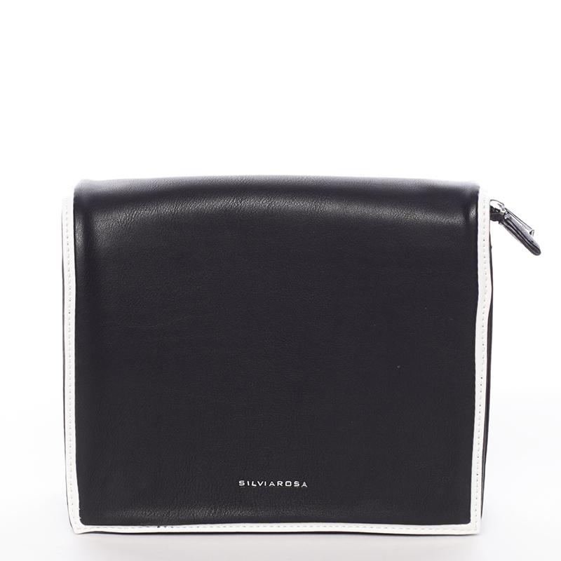 Jednoduchá stylová crossbody kabelka, černo-bílá