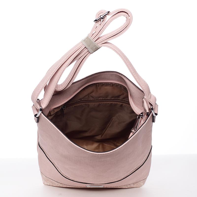 Praktická crossbody kabelka  Debora, světle růžová