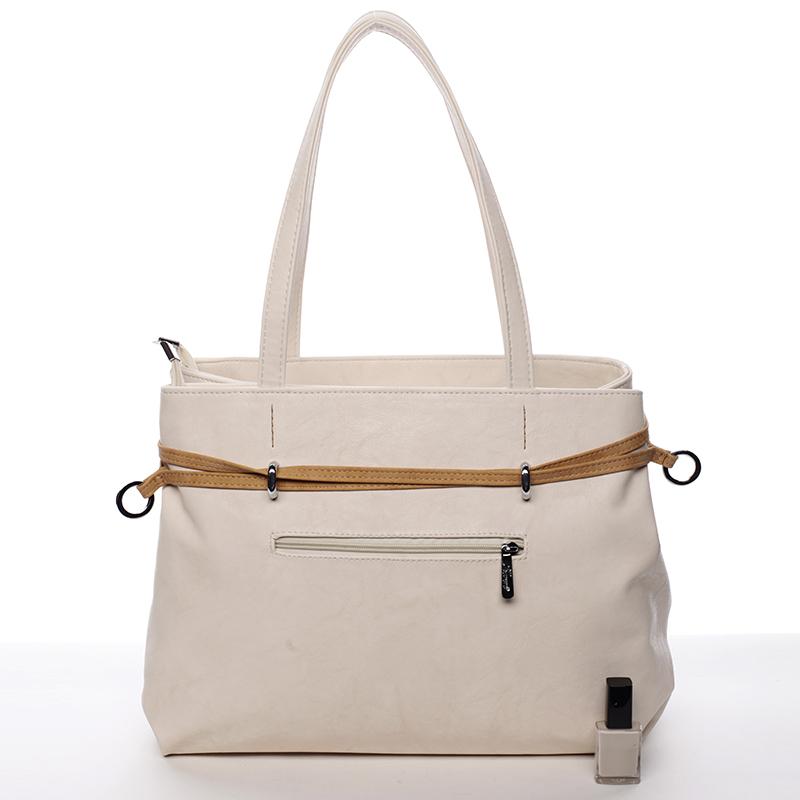 Elegantní kabelka Karen Cristina přes rameno, béžová