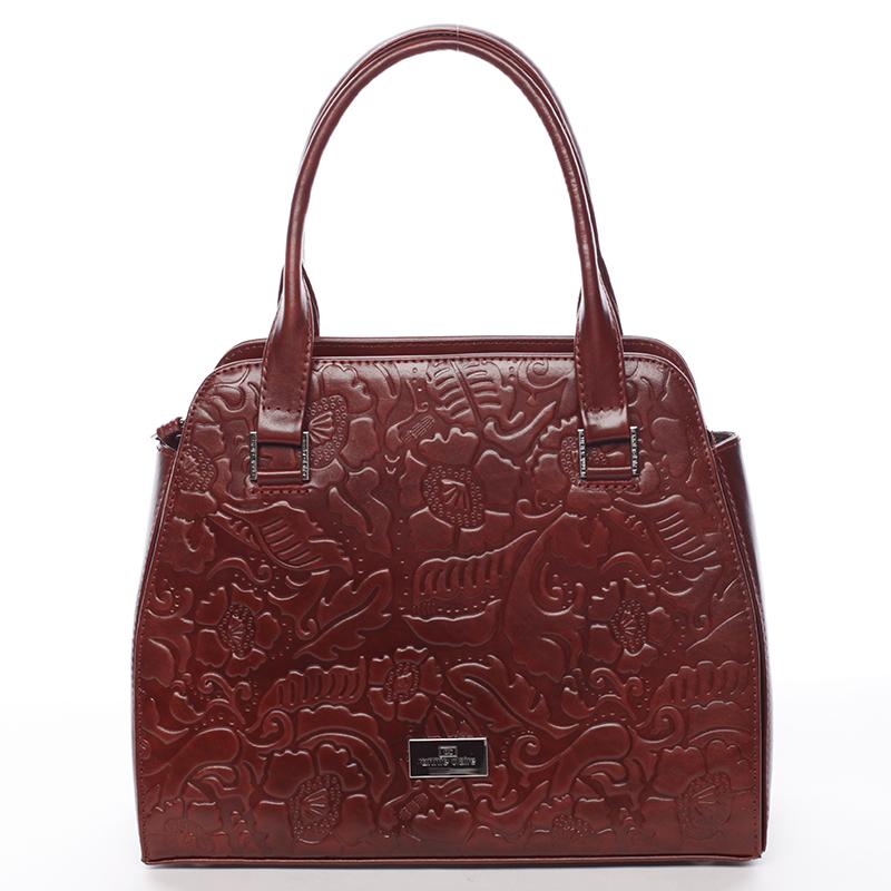 Kožená luxusní kabelka Annie Claire, bordó