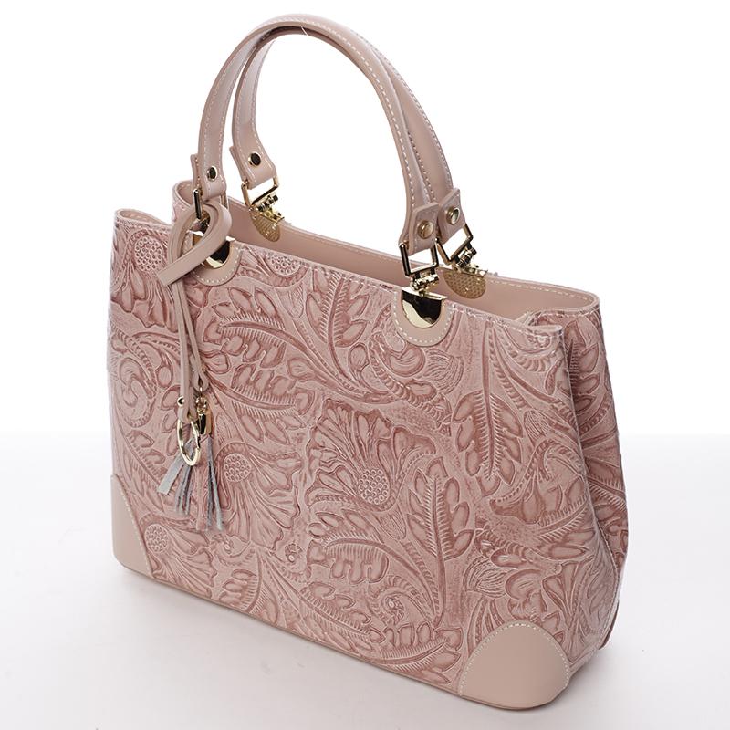 Luxusní kožená kabelka se vzory Raina, růžová
