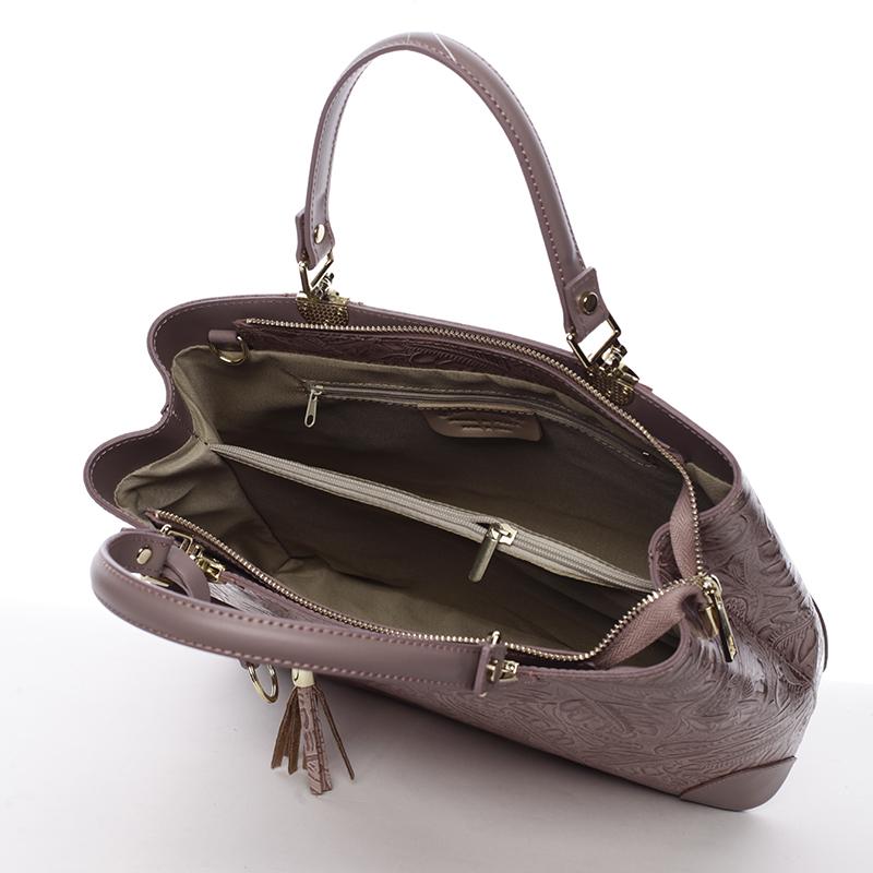 Luxusní kožená kabelka se vzory Raina, tmavě růžová