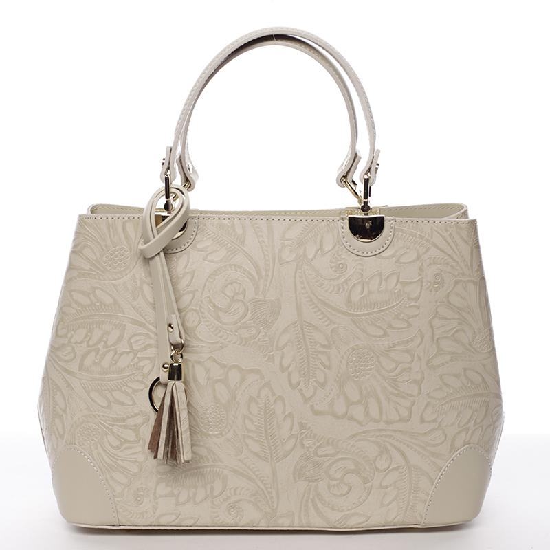 Luxusní kožená kabelka se vzory Raina, béžová