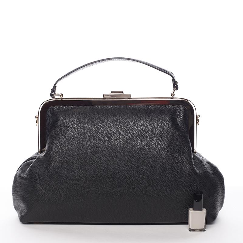 Kožená klasická kabelka do ruky Cristina, černá