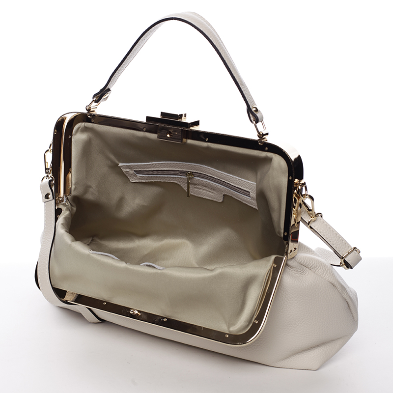 Kožená klasická kabelka do ruky Cristina, bílá