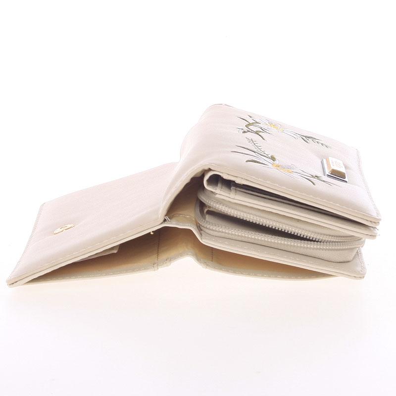 Luxusní prostorná peněženka Dudlin Betania, krémová