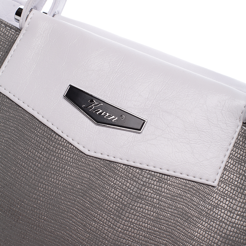 Elegantní kabelka Karen Tekla, bílo-šedá