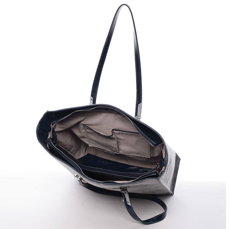 Velká stylová kabelka přes rameno Karen, šedá-petrolejově zelená