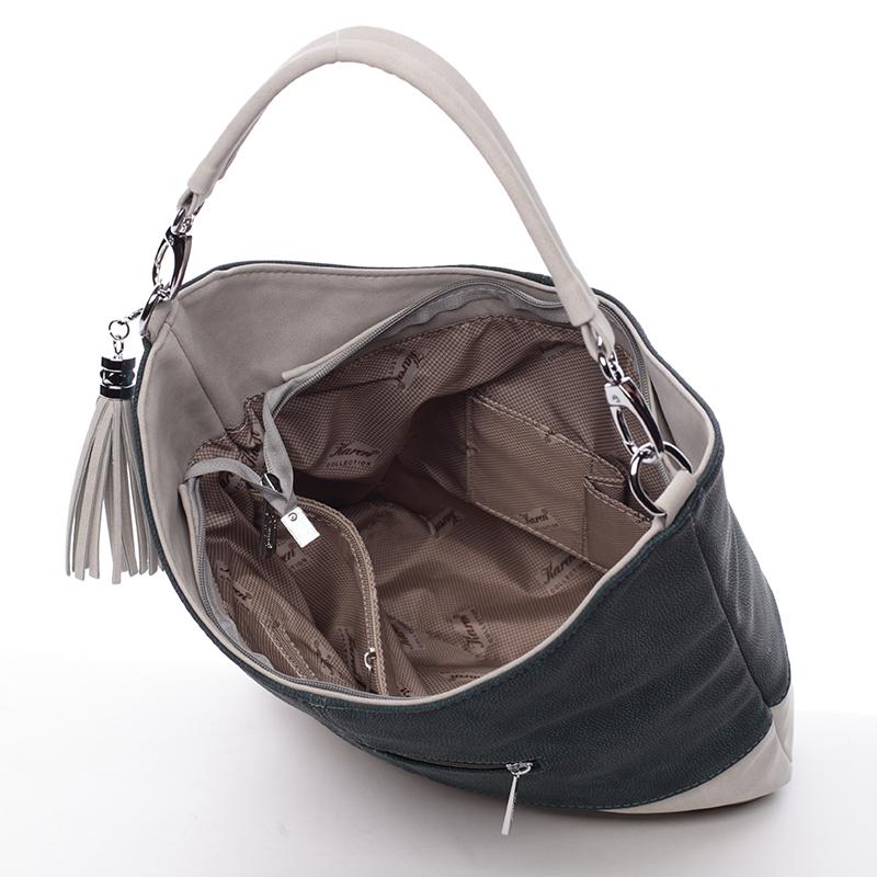 Trendy kabelka střední velkosti Karen Melani, petrolejově zelená-béžová