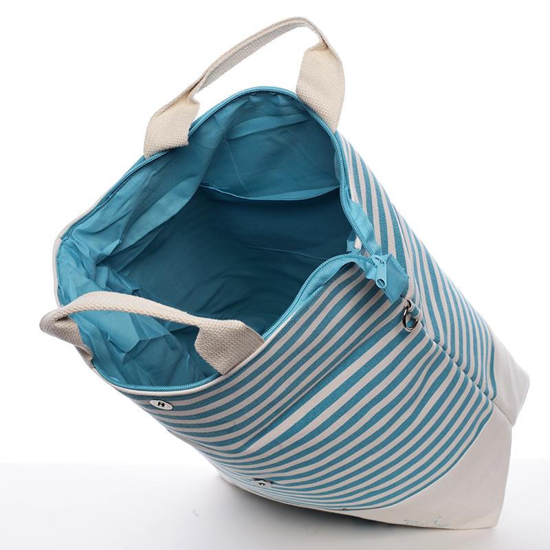 Stylová tyrkysová plážová taška s proužky Miranda