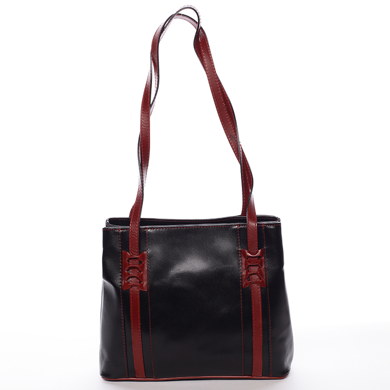 Kožená dámská kabelka Flor, černo-červená