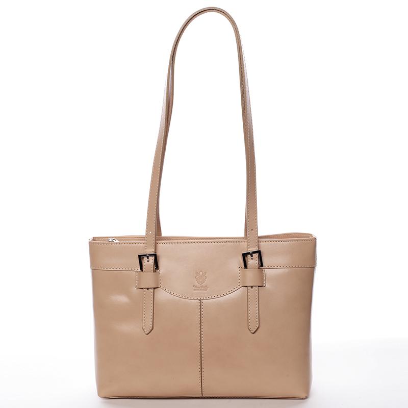 Elegantní kožená dámská kabelka Gina, taupe