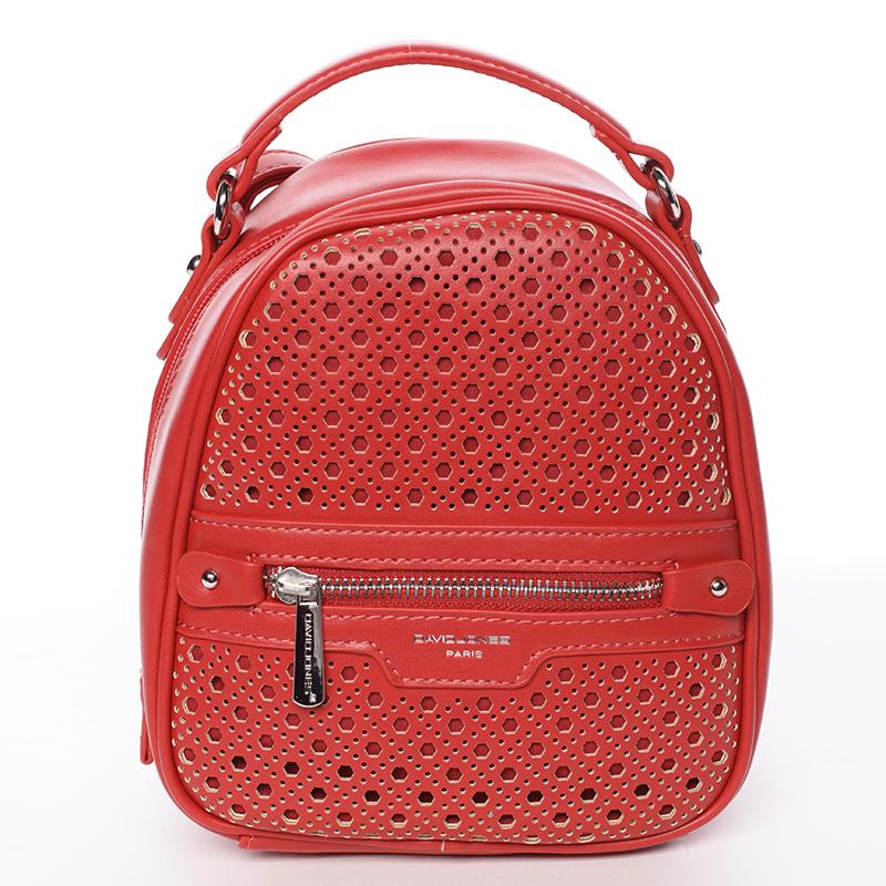 Stylový designový dámský batůžek, červený