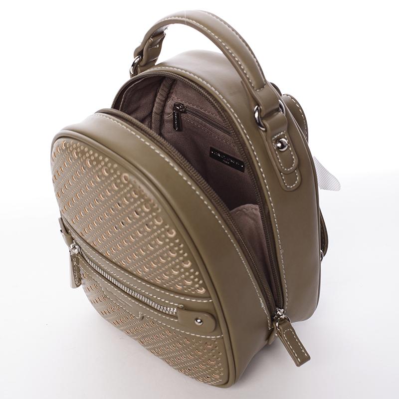Stylový designový dámský batůžek, khaki