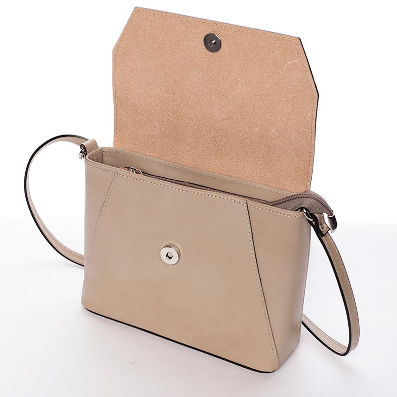 Svěží kožená crossbody kabelka Evelina, taupe