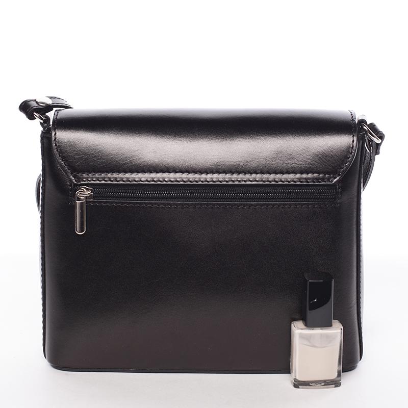 Svěží kožená crossbody kabelka Evelina, černá