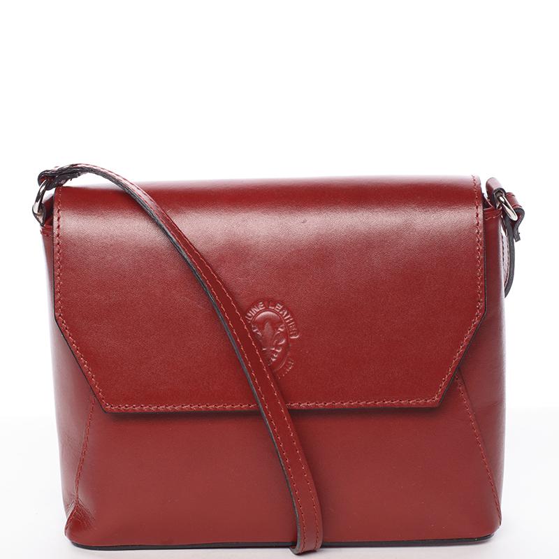 Svěží kožená crossbody kabelka Evelina, červená