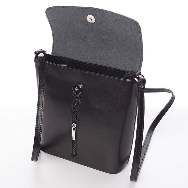 Luxusní kožená kabelka Leandra, černá