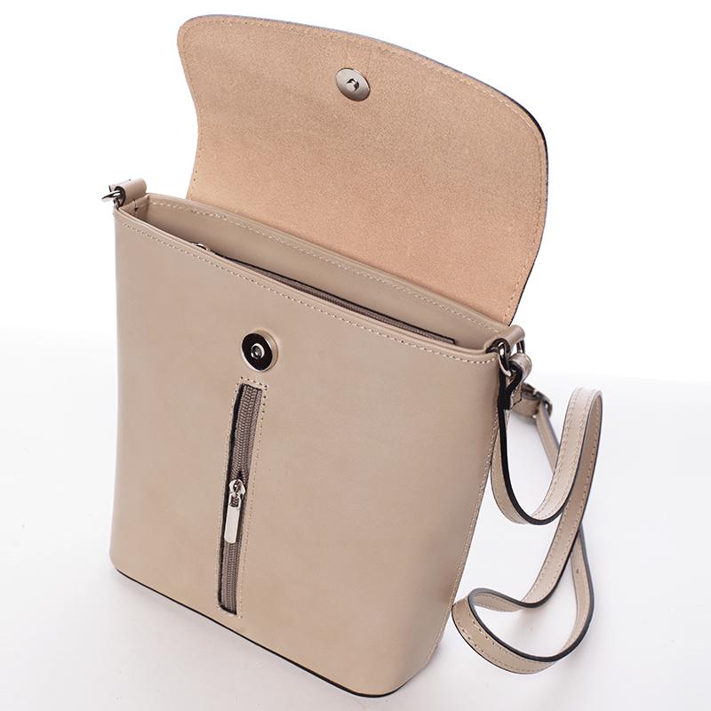 Luxusní kožená kabelka Leandra, taupe