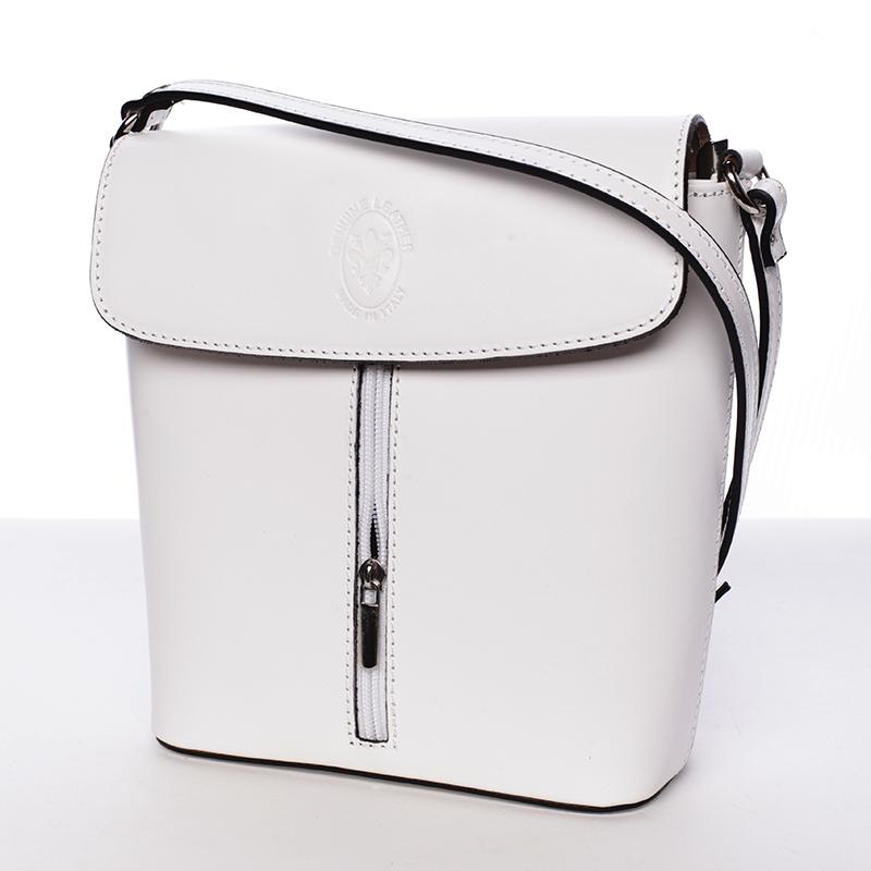 Luxusní kožená kabelka Leandra, bílá