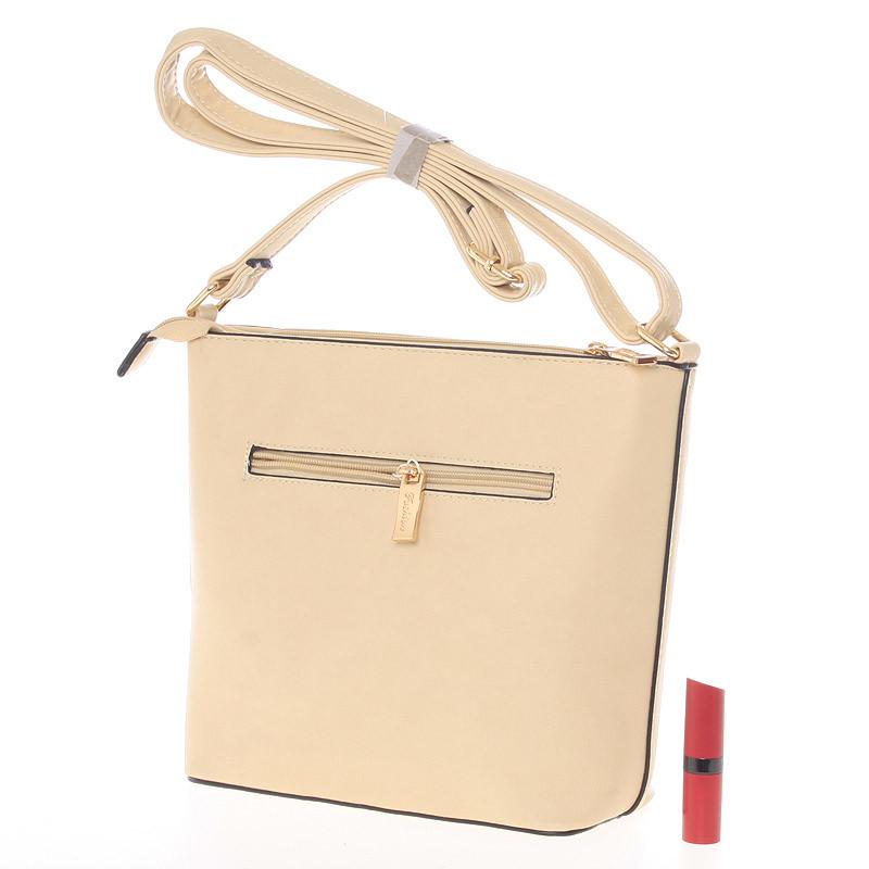 Krásná, stylová crossbody kabelka Carolina, světle písková