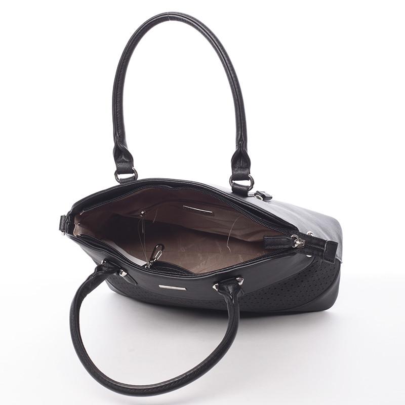 Designová perforovaná kabelka David Jones Iris, černá
