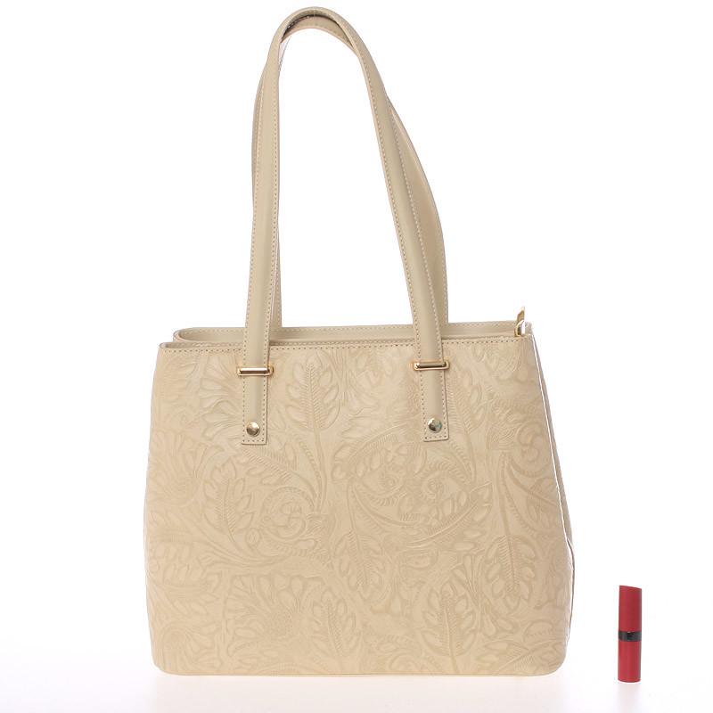 Módní kožená kabelka se vzory Tatum, světle béžová