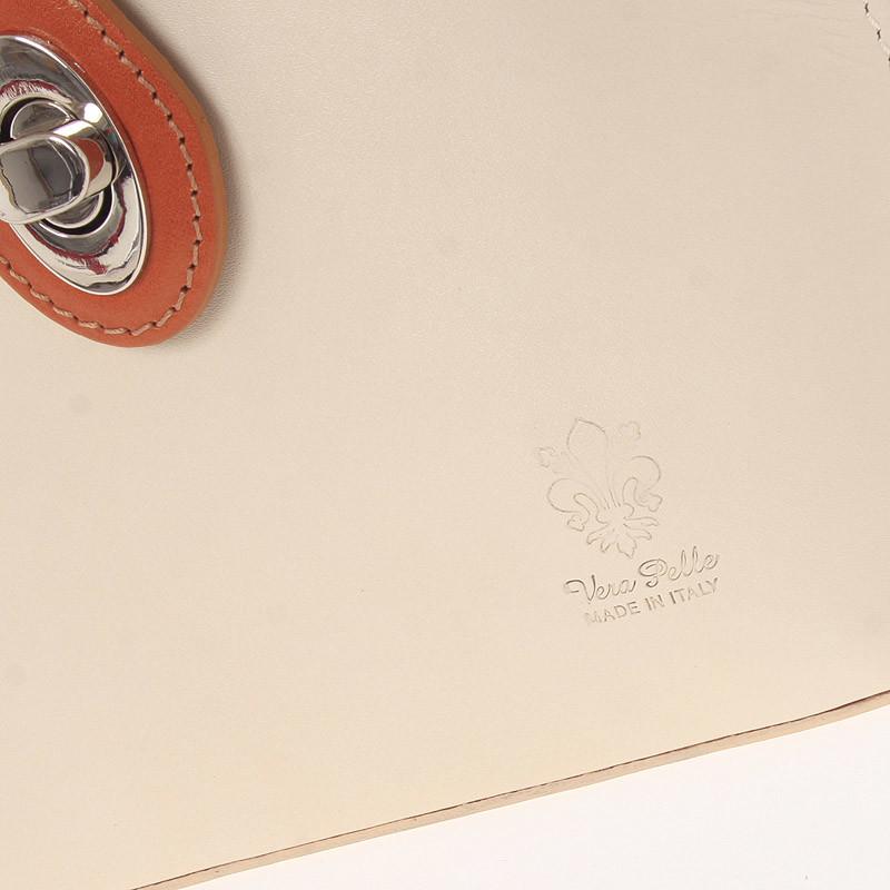 Dámská kožená crossbody Serena beige - cognac