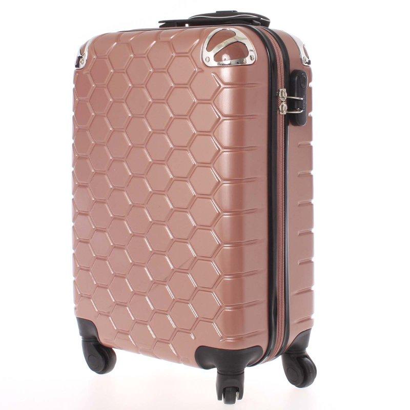 Stylový cestovní kufr imitace včelích plástů vel. 1, 4 kolečka, růžovo-černý