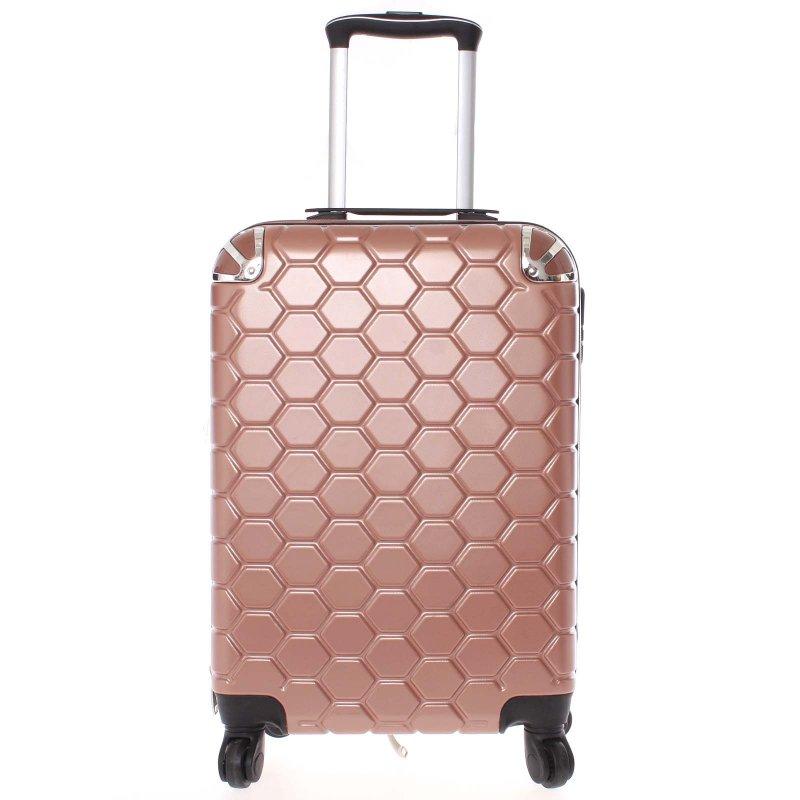 Stylový cestovní kufr imitace včelích plástů vel. 2, 4 kolečka, růžovo-černý