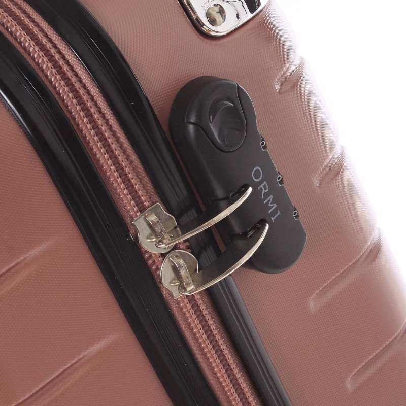 Stylový cestovní kufr vimitace včelích plástů vel. 3, 4 kolečka, růžovo-černý