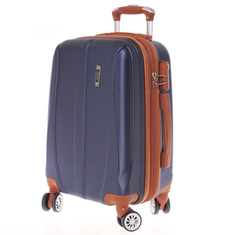 Námořnicky modrý cestovní kufr vel. III, 4. kolečka